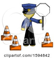 Yellow Police Man Holding Stop Sign By Traffic Cones Under Construction Concept
