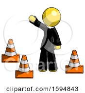 Poster, Art Print Of Yellow Clergy Man Standing By Traffic Cones Waving