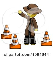 Yellow Detective Man Standing By Traffic Cones Waving