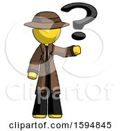 Yellow Detective Man Holding Question Mark To Right
