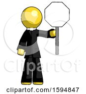 Poster, Art Print Of Yellow Clergy Man Holding Stop Sign