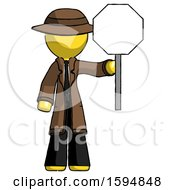 Yellow Detective Man Holding Stop Sign
