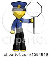 Yellow Police Man Holding Stop Sign
