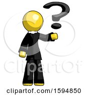 Poster, Art Print Of Yellow Clergy Man Holding Question Mark To Right