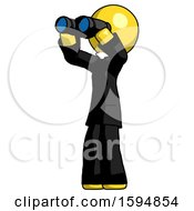 Poster, Art Print Of Yellow Clergy Man Looking Through Binoculars To The Left