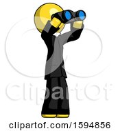 Poster, Art Print Of Yellow Clergy Man Looking Through Binoculars To The Right