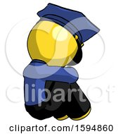 Yellow Police Man Sitting With Head Down Back View Facing Right