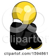 Poster, Art Print Of Yellow Clergy Man Sitting With Head Down Back View Facing Right