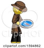 Yellow Detective Man Looking At Large Compass Facing Right