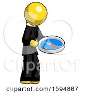 Poster, Art Print Of Yellow Clergy Man Looking At Large Compass Facing Right