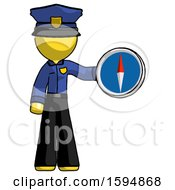 Yellow Police Man Holding A Large Compass