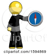 Yellow Clergy Man Holding A Large Compass
