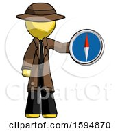 Yellow Detective Man Holding A Large Compass