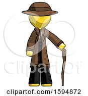 Yellow Detective Man Standing With Hiking Stick