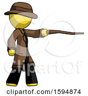 Yellow Detective Man Pointing With Hiking Stick