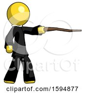 Yellow Clergy Man Pointing With Hiking Stick