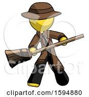 Yellow Detective Man Broom Fighter Defense Pose