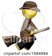 Yellow Detective Man Flying On Broom