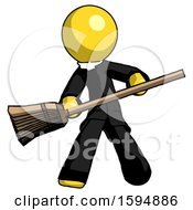 Yellow Clergy Man Broom Fighter Defense Pose