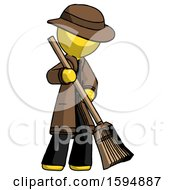 Yellow Detective Man Sweeping Area With Broom