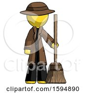 Yellow Detective Man Standing With Broom Cleaning Services