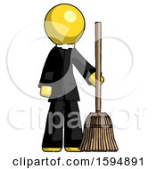 Yellow Clergy Man Standing With Broom Cleaning Services