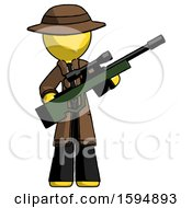 Yellow Detective Man Holding Sniper Rifle Gun