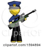 Yellow Police Man Holding Sniper Rifle Gun