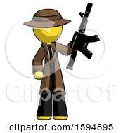 Yellow Detective Man Holding Automatic Gun