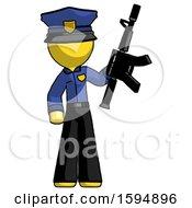 Yellow Police Man Holding Automatic Gun