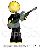 Yellow Clergy Man Holding Sniper Rifle Gun