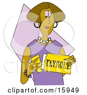 African American Woman In Purple Opening Her Payroll Check Clipart Illustration