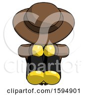 Yellow Detective Man Sitting With Head Down Facing Forward
