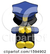 Yellow Police Man Sitting With Head Down Facing Forward