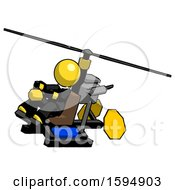 Yellow Clergy Man Flying In Gyrocopter Front Side Angle Top View