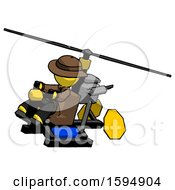 Yellow Detective Man Flying In Gyrocopter Front Side Angle Top View