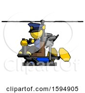 Yellow Police Man Flying In Gyrocopter Front Side Angle View