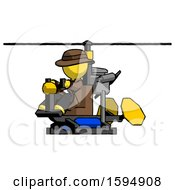 Yellow Detective Man Flying In Gyrocopter Front Side Angle View