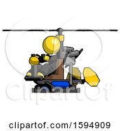 Yellow Clergy Man Flying In Gyrocopter Front Side Angle View