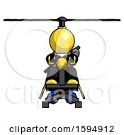 Yellow Clergy Man Flying In Gyrocopter Front View