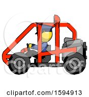 Yellow Police Man Riding Sports Buggy Side View