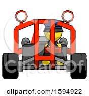 Yellow Police Man Riding Sports Buggy Front View