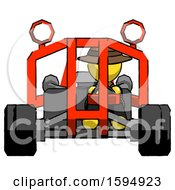 Yellow Detective Man Riding Sports Buggy Front View