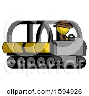 Yellow Detective Man Driving Amphibious Tracked Vehicle Side Angle View