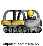 Yellow Clergy Man Driving Amphibious Tracked Vehicle Side Angle View