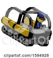 Yellow Police Man Driving Amphibious Tracked Vehicle Top Angle View