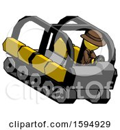 Yellow Detective Man Driving Amphibious Tracked Vehicle Top Angle View