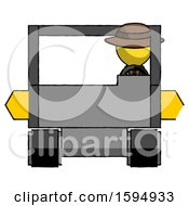 Yellow Detective Man Driving Amphibious Tracked Vehicle Front View