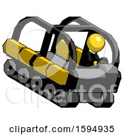 Yellow Clergy Man Driving Amphibious Tracked Vehicle Top Angle View