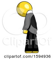 Yellow Clergy Man Depressed With Head Down Back To Viewer Left
